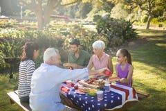 家庭有膳食在公园 免版税库存图片
