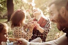 家庭有野餐一起在公园 免版税库存图片