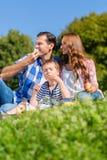 家庭有野餐在草坐草甸 库存图片