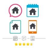 家庭标志象 主页按钮 定位 免版税库存照片