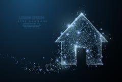 家庭标志 与被粉碎的边缘的多角形wireframe滤网象看起来象星座 概念例证或 免版税库存照片