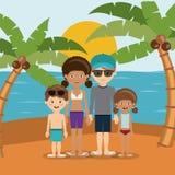 家庭海滩假期设计 向量例证
