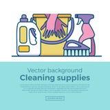 家庭清洁物品隔绝了象 免版税库存照片
