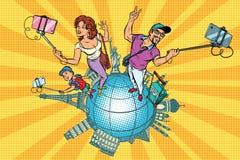 家庭游人和selfie,旅行环球 向量例证