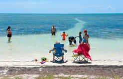 家庭游泳在海 免版税库存照片