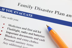 家庭灾害计划 免版税库存照片