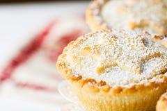 家庭焙制传统英国圣诞节酥皮点心的点心与苹果计算机填装在白色典雅的蛋糕立场的葡萄干坚果的肉馅饼 库存图片