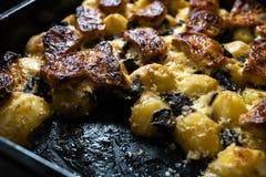 家庭焙制的土豆用猪肉和蘑菇-真正的农夫食物和物品从森林 免版税图库摄影
