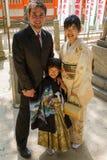 7-5-3家庭照片 免版税库存图片