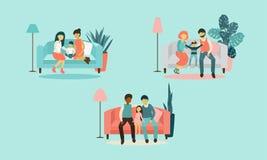 家庭的变异 异性爱家庭,同性恋 向量例证