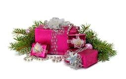 家庭的明亮的圣诞节礼物 库存图片
