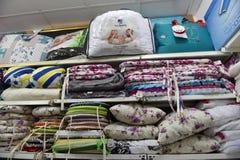 家庭纺织品商店 库存照片