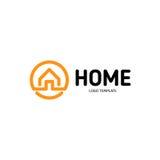 家庭线性传染媒介商标 聪明的房子线艺术橙色和黑略写法 概述房地产象 皇族释放例证