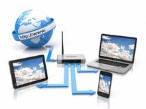 家庭网络的概念。 Sync设备 免版税库存照片