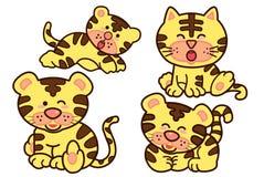 家庭老虎漫画人物设计传染媒介 免版税库存图片