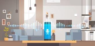 家庭聪明的声音活性化的辅助公认技术概念客厅内部背景聪明的ai 库存例证