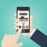 家庭聪明 流动app聪明的家,概念传染媒介illustrarion,聪明的房子技术 库存照片