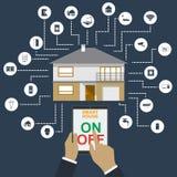 家庭聪明 聪明的房子技术系统的平的设计样式例证概念与统一使用的 库存图片