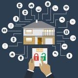 家庭聪明 聪明的房子技术系统的平的设计样式例证概念与统一使用的 库存照片