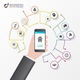 家庭聪明 Infographic设计模板 控制概念 库存照片