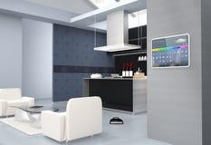 家庭自动化在厨房墙壁上的控制板 向量例证