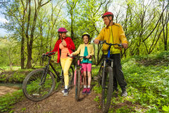 家庭自行车旅行在晴朗的春天公园 库存图片