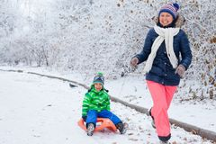 家庭获得与雪撬的乐趣在冬天公园 库存图片