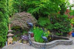 家庭菜园有装饰的后院池塘 免版税库存照片
