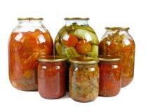 家庭装于罐中。 腌汁查出 免版税库存图片