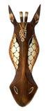 家庭装饰的-长颈鹿木面具 库存照片