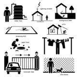 家庭议院室外结构基础设施和装置Cliparts 库存照片