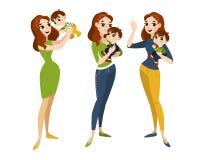 家庭设置与妈妈和儿子 库存图片