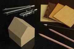 家庭设计和建筑conce的samply Achitect材料 免版税库存图片