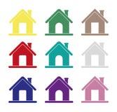 家庭象,互联网的不同的房子象,传染媒介,主页 免版税库存图片