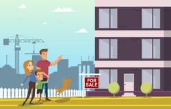 家庭购买房地产议院 漫画人物儿童五颜六色的图象例证 皇族释放例证