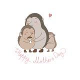 家庭逗人喜爱的猬 妈妈和孩子 动物动画片被画的现有量查出的向量白色 库存照片