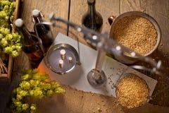 家庭酿造啤酒 库存图片