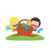 家庭野餐男孩和女孩艺术商标 免版税库存照片