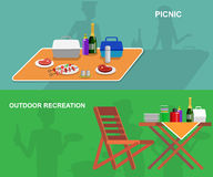 家庭野餐 BBQ党 食物和烤肉 免版税库存照片