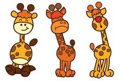 家庭长颈鹿漫画人物设计 库存照片