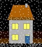 家庭降雪 免版税图库摄影