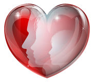 家庭面对心脏剪影 免版税库存图片
