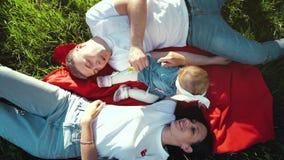 家庭顶面下来与说谎在绿草的毯子的女婴的在夏天公园 影视素材