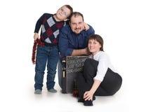 家庭:妈妈、爸爸和儿子玻璃的 免版税库存图片
