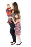 家庭:母亲、女儿和儿子 图库摄影