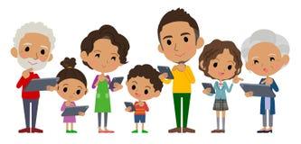 家庭3世代互联网由边的通信black_side 免版税库存照片