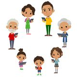 家庭3世代互联网通信black_smartphone选项 库存例证