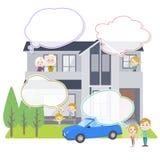 家庭3世代安置White_house观察文本气球 免版税库存图片