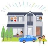 家庭3世代房子black_house观察 免版税库存照片