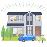 家庭3世代房子White_house观察 库存图片